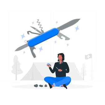 Ilustración de concepto de cuchillo suizo