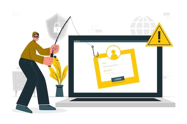 Ilustración de concepto de cuenta de phishing
