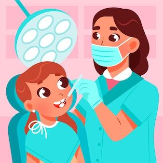 Ilustración de concepto de cuidado dental de dibujos animados