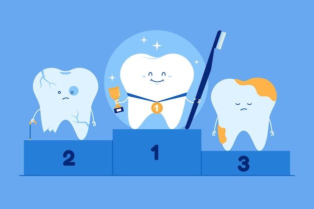 Ilustración de concepto de cuidado dental plano