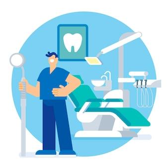 Ilustración del concepto de cuidado dental