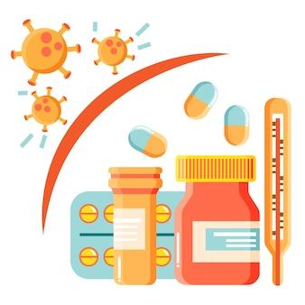 Ilustración de concepto de cura de virus con pastillas