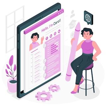 Ilustración de concepto de curriculum vitae en línea