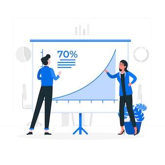 Ilustración del concepto de curva de crecimiento