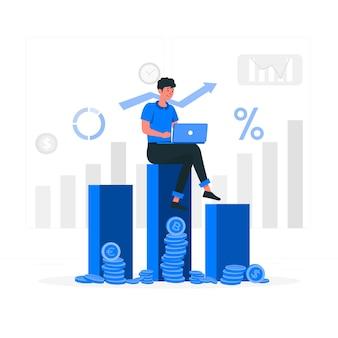 Ilustración del concepto de datos de inversión