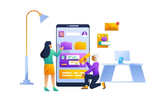 Ilustración del concepto de datos móviles