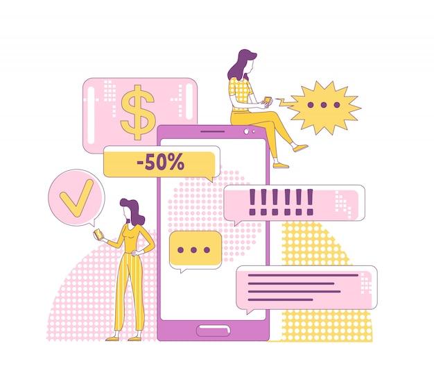 Ilustración de concepto de delgada línea de marketing viral. amigos chateando personajes de dibujos animados en 2d para diseño web. estrategia de promoción de internet, comunicación en redes sociales, idea creativa de publicidad móvil