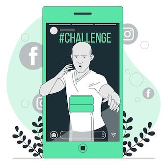 Ilustración del concepto de desafío (viral)