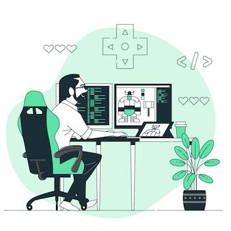 Ilustración de concepto de desarrollador de videojuegos