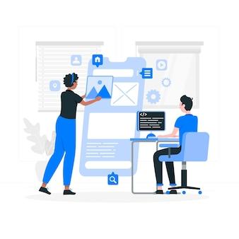 Ilustración del concepto de desarrollo de aplicaciones