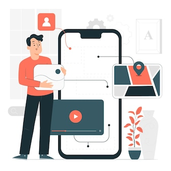 Ilustración del concepto de desarrollo móvil