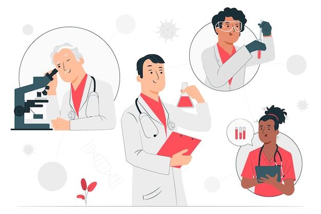 Ilustración del concepto de desarrollo de vacunas