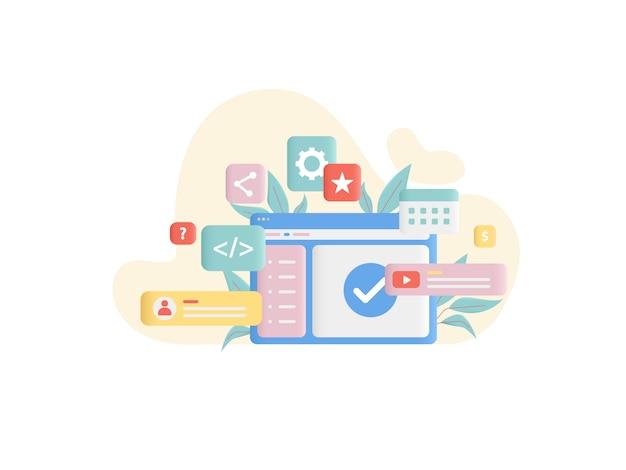 Ilustración del concepto de desarrollo web en estilo plano