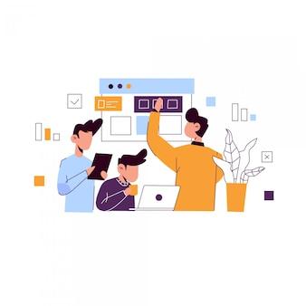 Ilustración del concepto de desarrollo web para la página de inicio