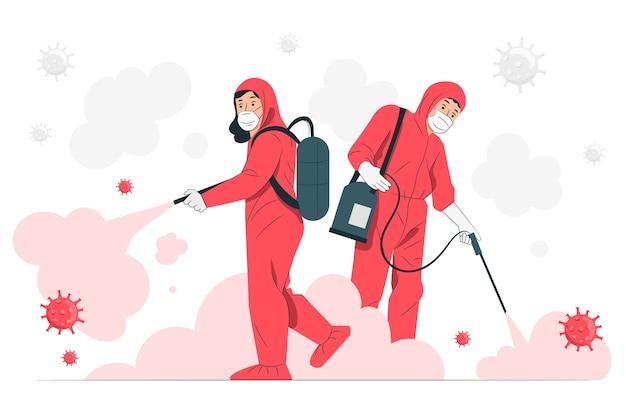 Ilustración del concepto de desinfección de virus
