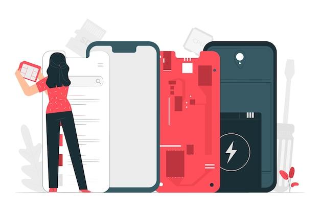Ilustración del concepto de desmontaje del producto