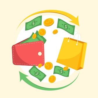Ilustración del concepto de devolución de dinero colorido