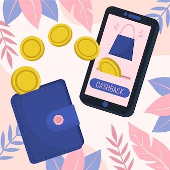 Ilustración del concepto de devolución de dinero con teléfono y billetera