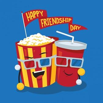 Ilustración de concepto de día de amistad de soda y palomitas de maíz