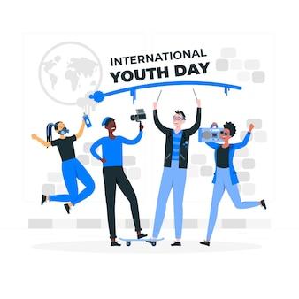 Ilustración del concepto del día internacional de la juventud