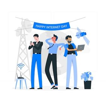 Ilustración de concepto de día de internet