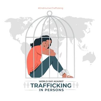Ilustración del concepto del día mundial contra la trata de personas