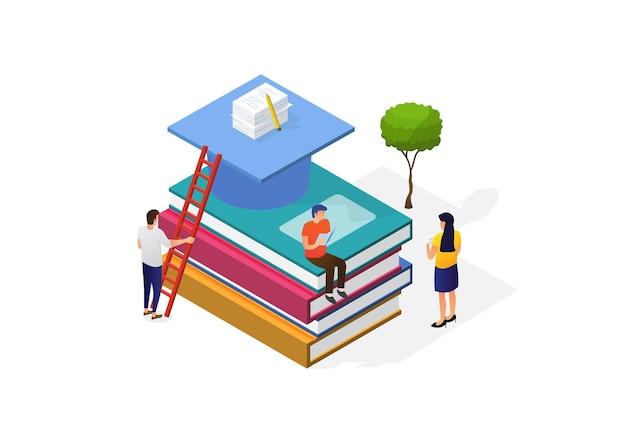 Ilustración de un concepto del día mundial del libro. los jóvenes modernos leen libros