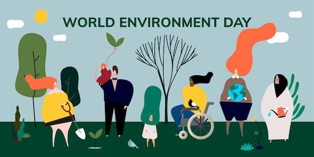 Ilustración de concepto de día mundial del medio ambiente