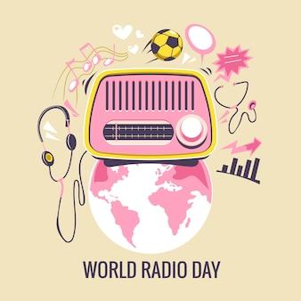 Ilustración del concepto del día mundial de la radio. radio vintage con todo tipo de entretenimiento y noticias en todo el mundo.