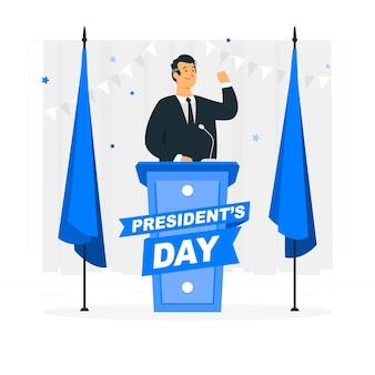 Ilustración del concepto del día del presidente