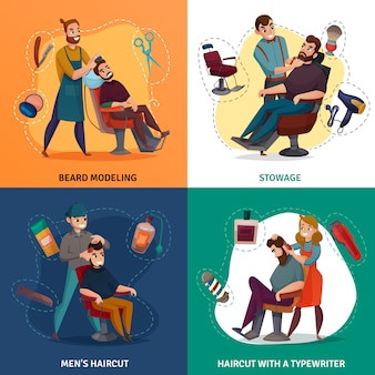 Ilustración de concepto de dibujos animados de peluquería