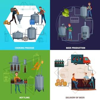 Ilustración de concepto de dibujos animados de producción de cerveza