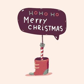 Ilustración de concepto de dibujos animados de tablero de feliz navidad aislado sobre fondo.