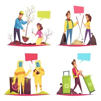 Ilustración de concepto de dibujos animados de voluntariado ecológico