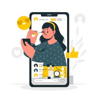 Ilustración del concepto de directos de video de instagram