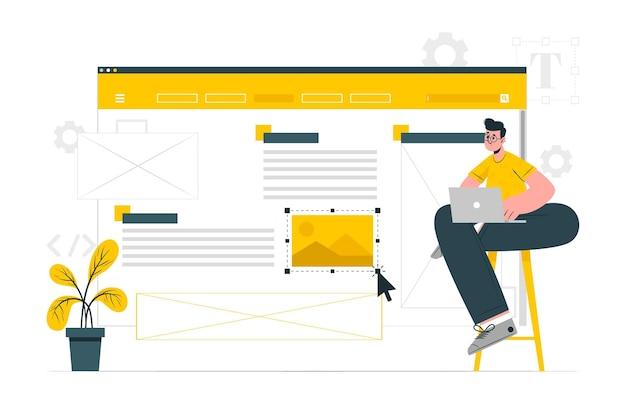 Ilustración de concepto de diseñador de sitio web