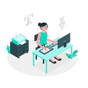Ilustración de concepto de diseñadora