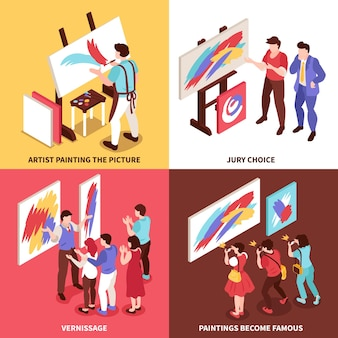 Ilustración de concepto de diseño de galería de arte isométrico