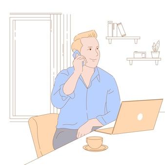 Ilustración de concepto de diseño gráfico de trabajo desde casa, autónomo, ingresos pasivos.