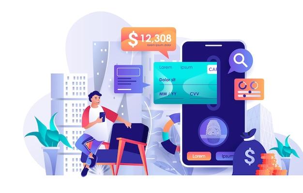 Ilustración de concepto de diseño plano de banca móvil de personajes de personas