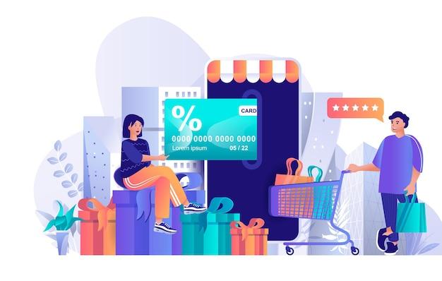 Ilustración de concepto de diseño plano de programa de lealtad de tienda de personajes de personas