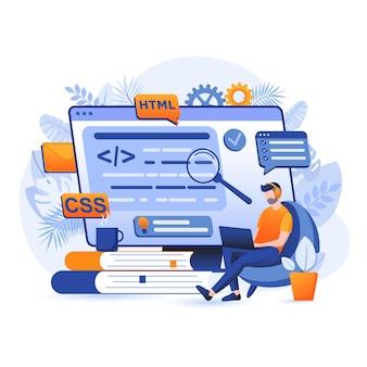 Ilustración de concepto de diseño plano de software de programación