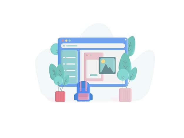 Ilustración de concepto de diseño web estilo plano
