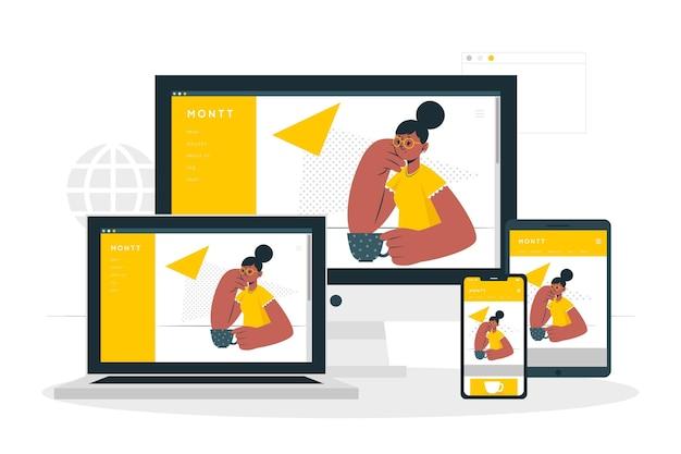 Ilustración del concepto de dispositivos web