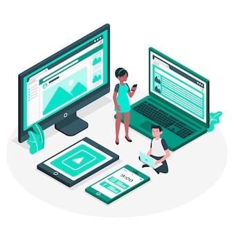 Ilustración de concepto dispositivos web