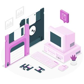 Ilustración de concepto de disquete