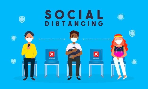 Ilustración del concepto de distanciamiento social