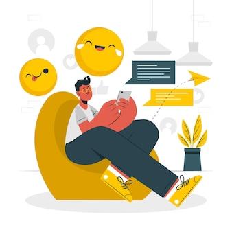 Ilustración de concepto de diversión de mensajería