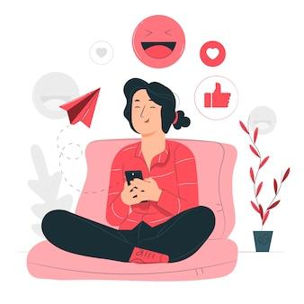 Ilustración del concepto de divertido de mensajería