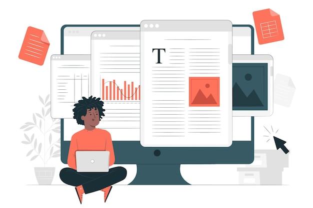 Ilustración de concepto de documento en línea